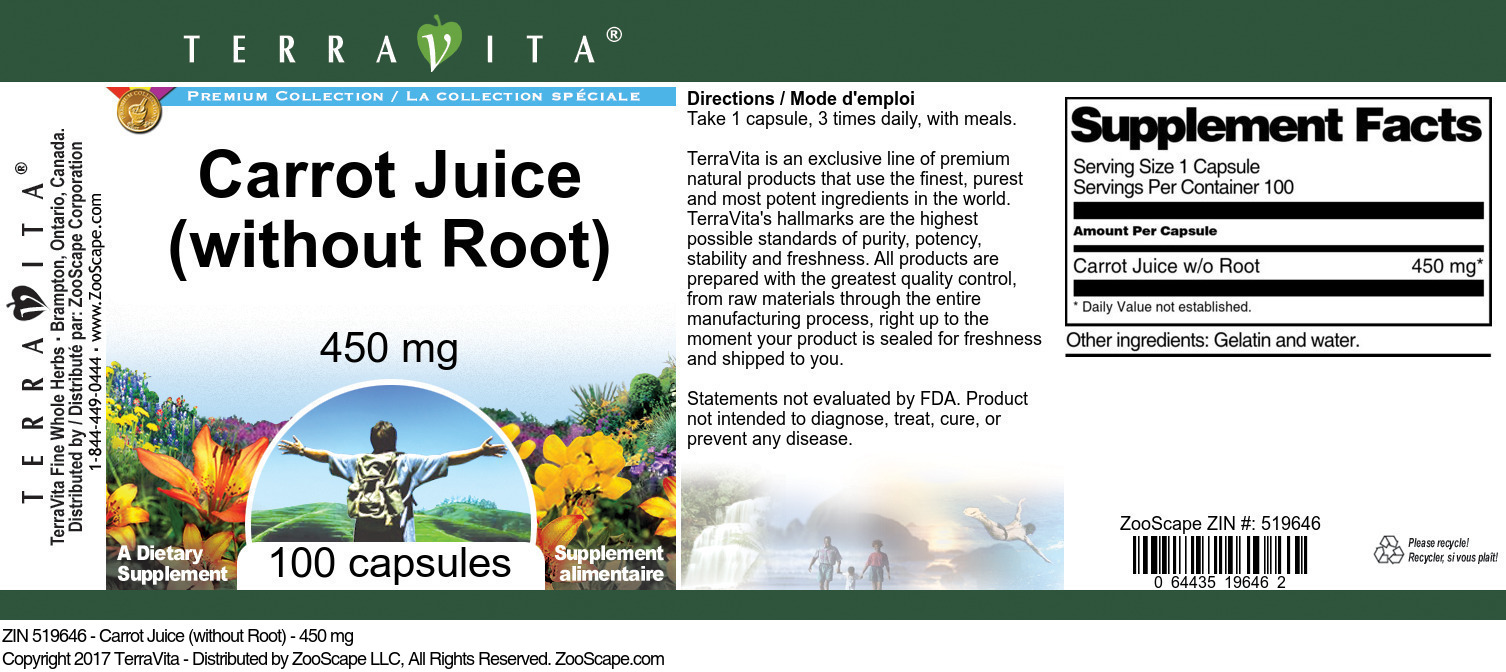 Carrot Juice (without Root) - 450 mg