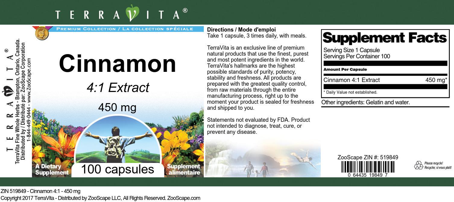 Cinnamon 4:1 - 450 mg