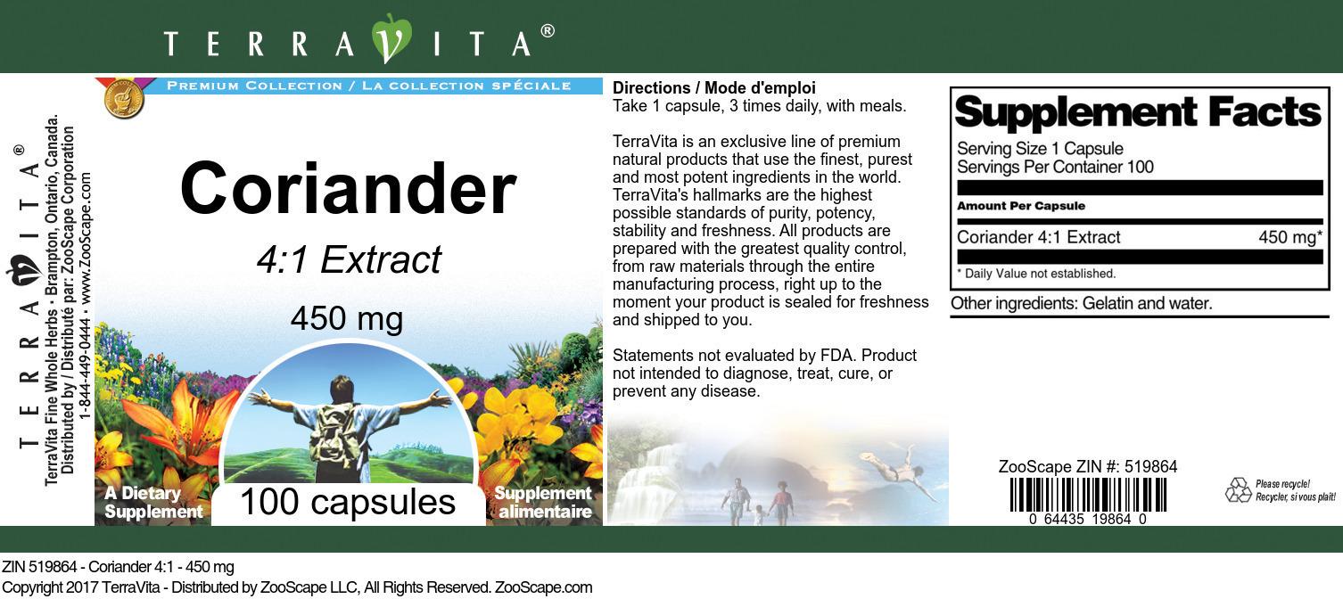 Coriander 4:1 - 450 mg