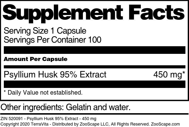 Psyllium Husk 95% Extract - 450 mg