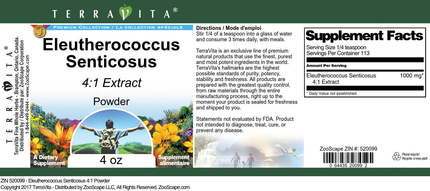 Eleutherococcus Senticosus 4:1 Powder