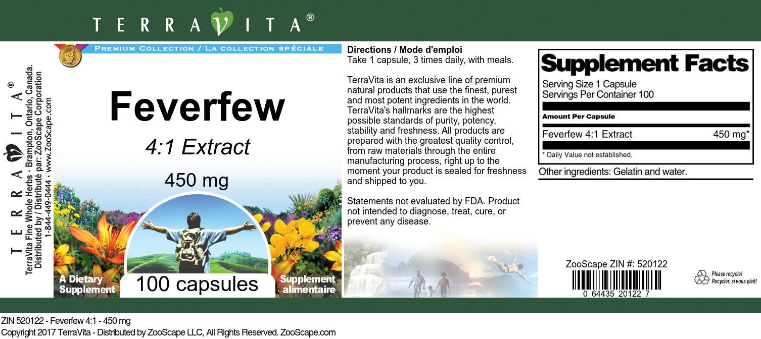 Feverfew 4:1 - 450 mg