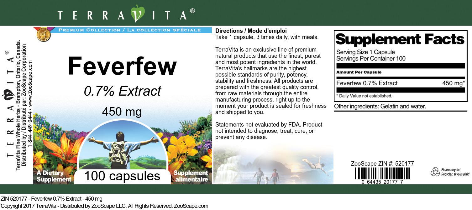 Feverfew 0.7% - 450 mg
