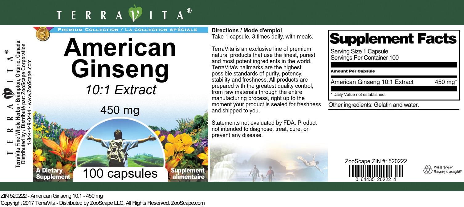 American Ginseng 10:1 - 450 mg