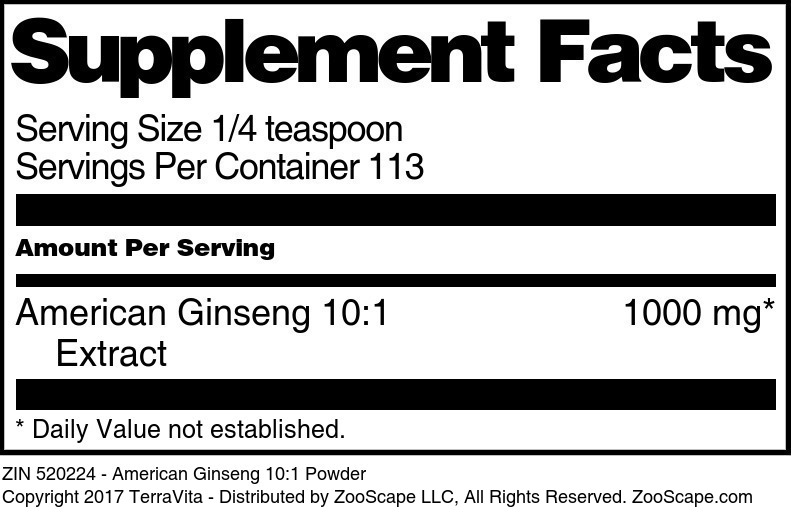 American Ginseng 10:1 Powder
