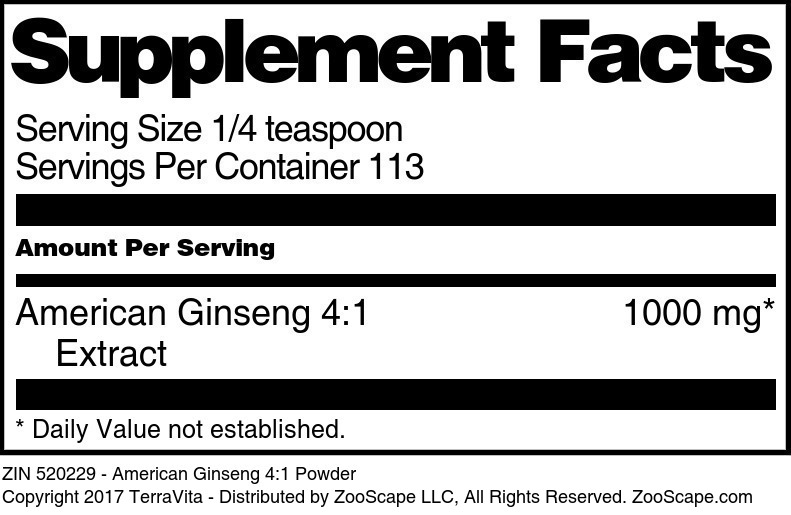 American Ginseng 4:1 Extract