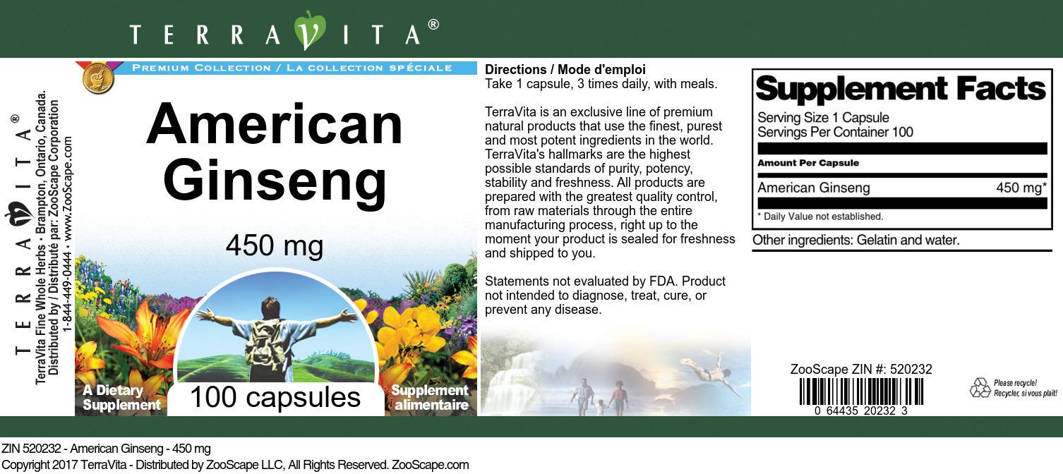 American Ginseng - 450 mg