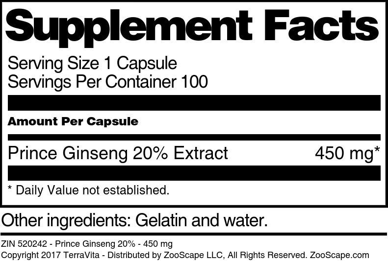 Prince Ginseng 20% - 450 mg