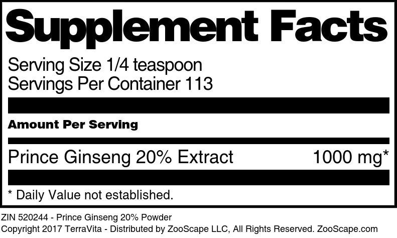 Prince Ginseng 20% Powder