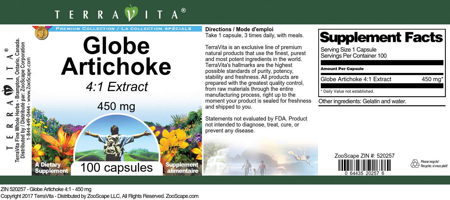 Globe Artichoke 4:1 - 450 mg