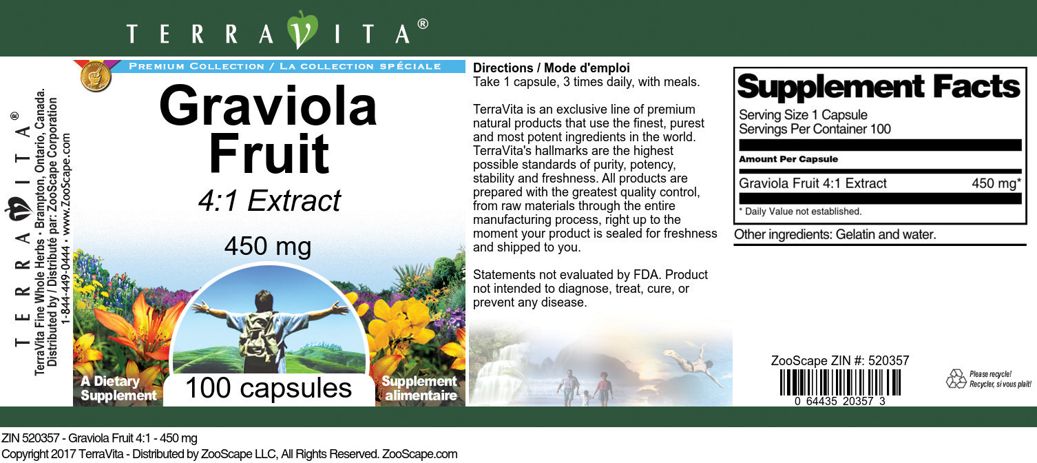 Graviola Fruit 4:1 - 450 mg