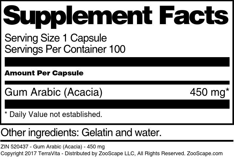 Gum Arabic (Acacia) - 450 mg