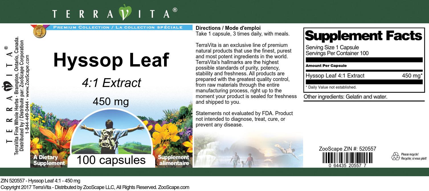 Hyssop Leaf 4:1 - 450 mg