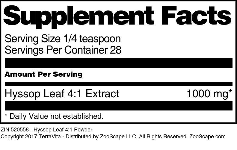 Hyssop Leaf 4:1 Powder
