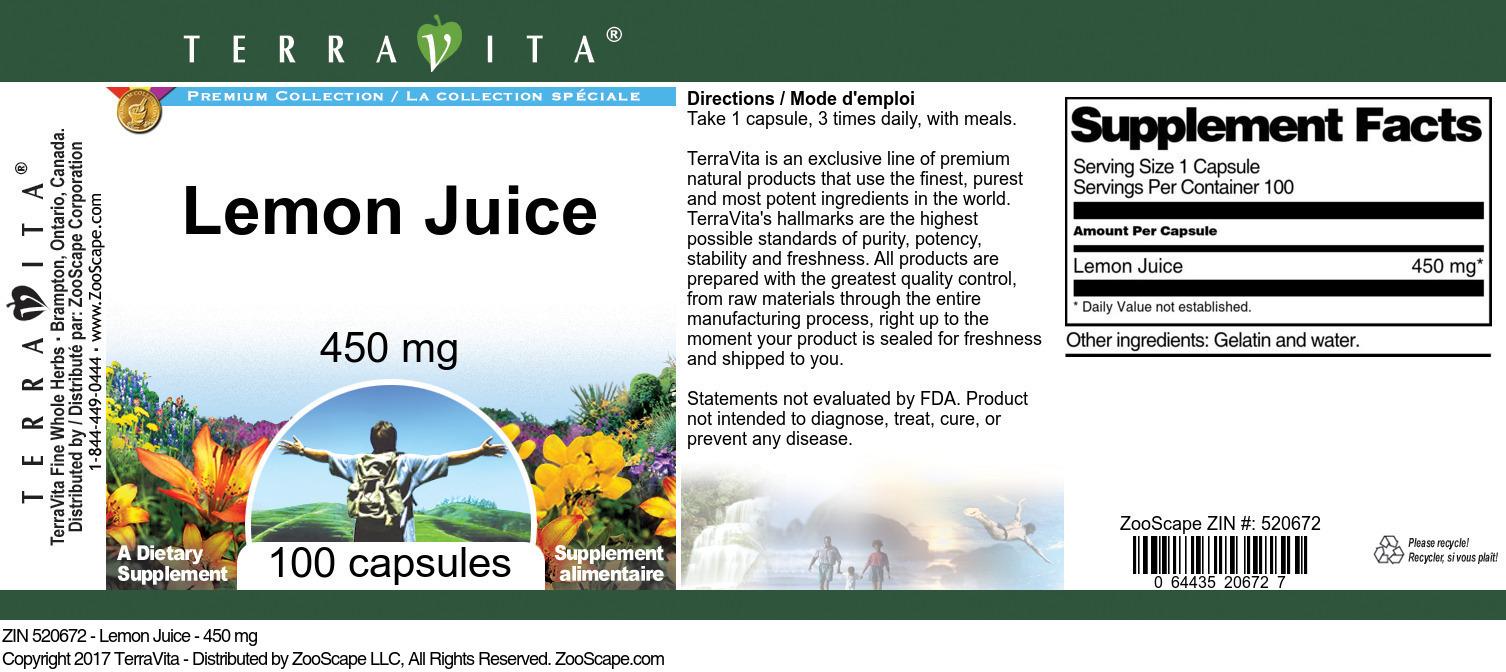 Lemon Juice - 450 mg