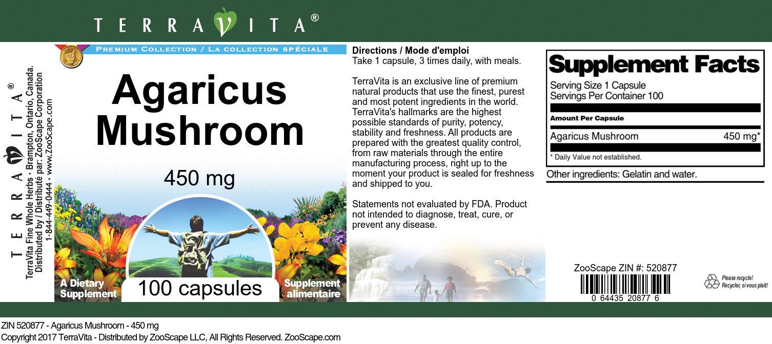 Agaricus Mushroom - 450 mg
