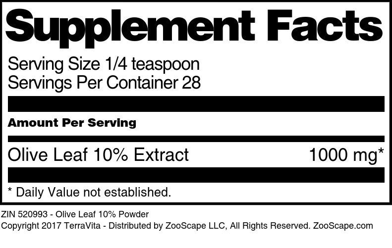 Olive Leaf 10% Powder