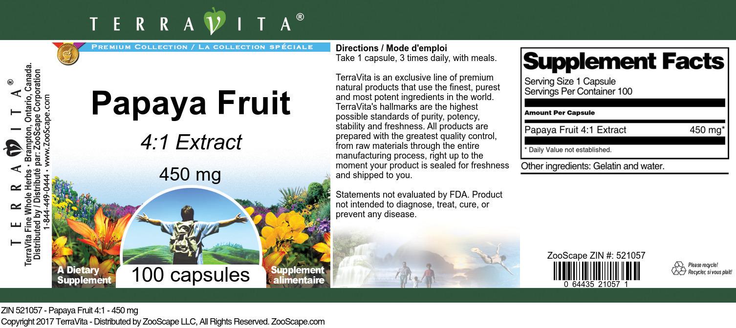 Papaya Fruit 4:1 - 450 mg