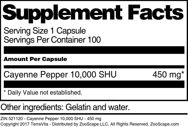 Cayenne Pepper 10,000 SHU - 450 mg