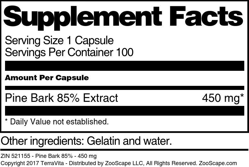 Pine Bark 85% - 450 mg