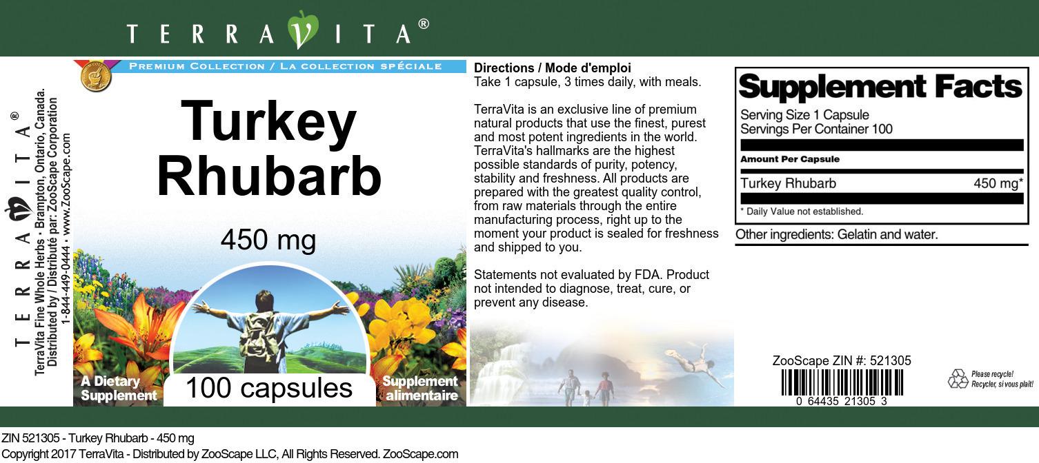 Turkey Rhubarb - 450 mg