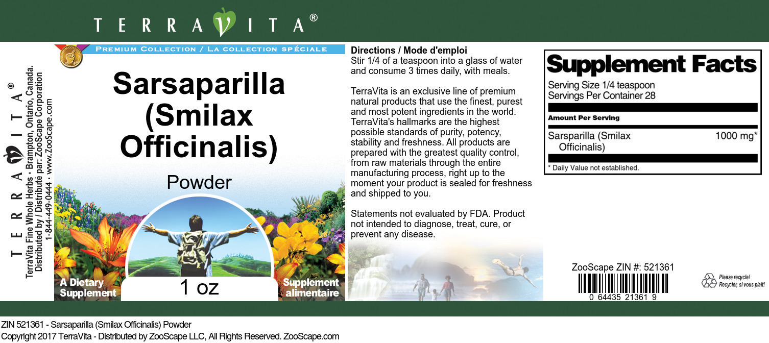 Sarsaparilla (Smilax Officinalis) Powder