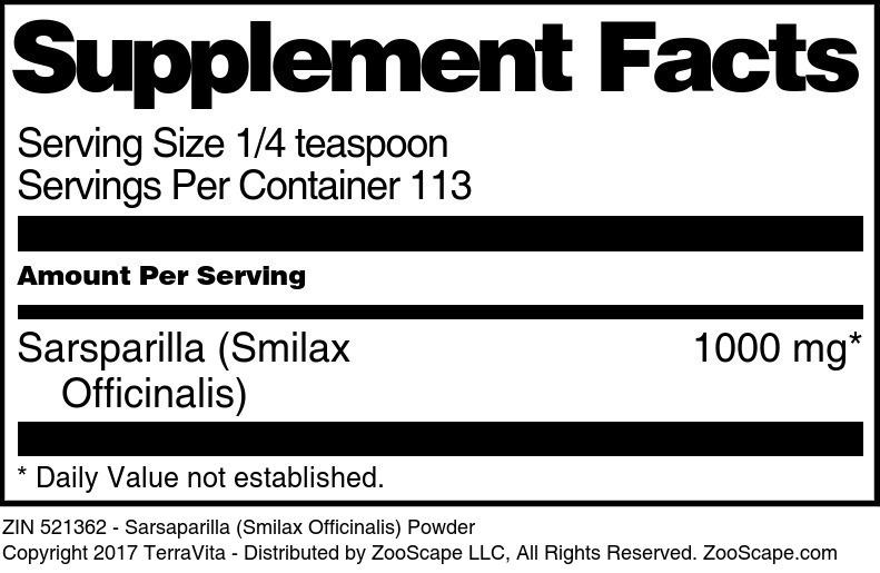 Sarsparilla <BR>(Smilax Officinalis)