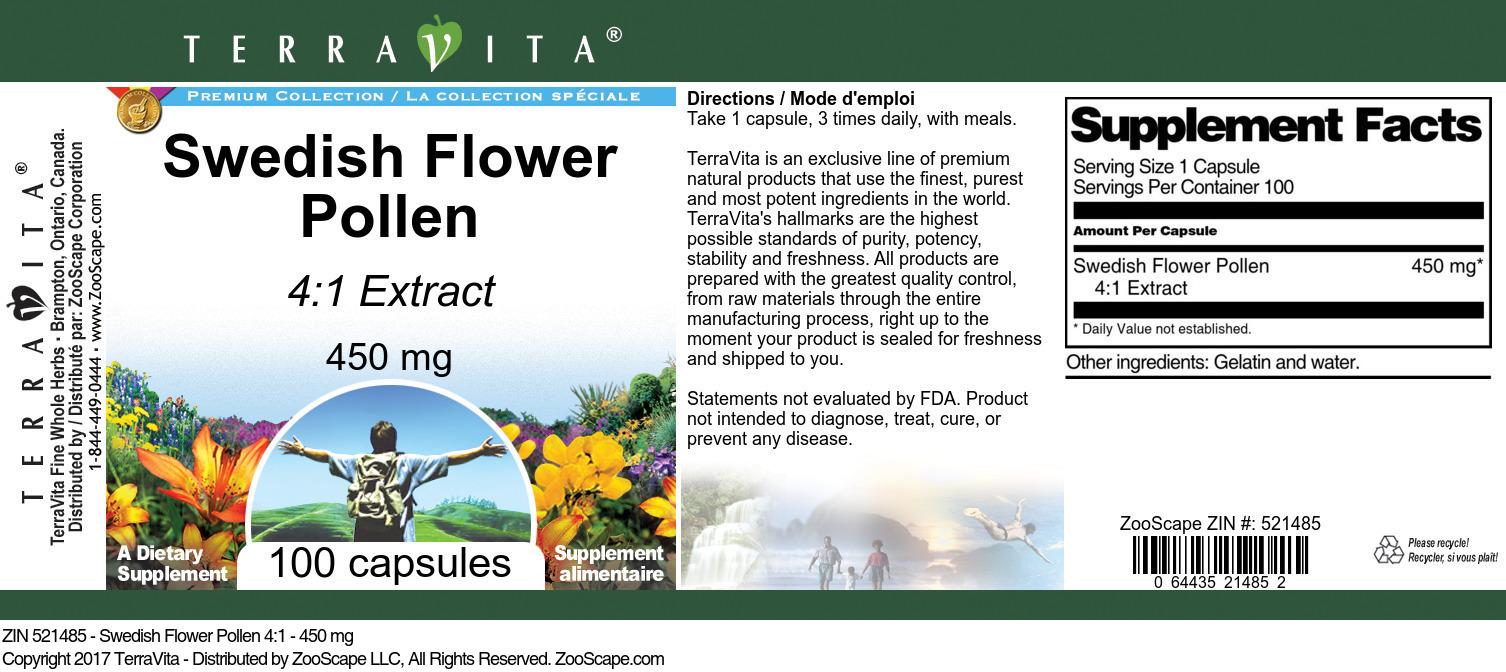 Swedish Flower Pollen 4:1 - 450 mg
