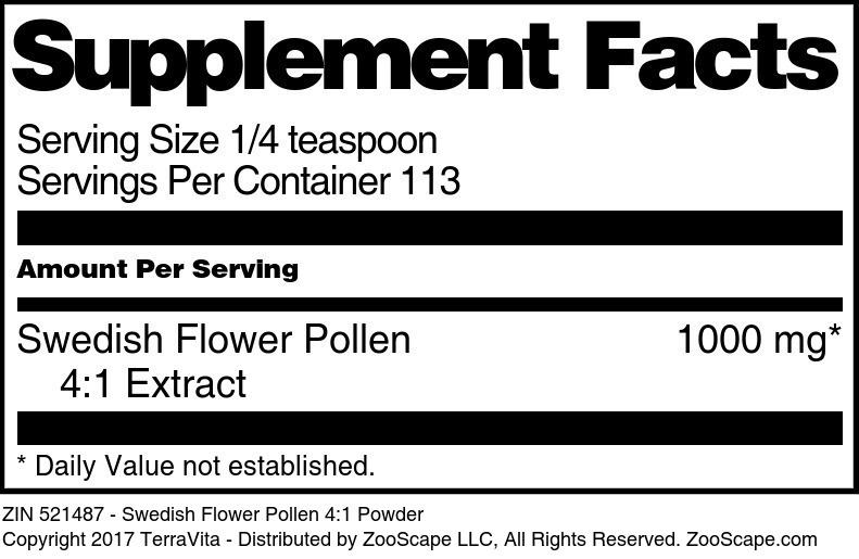 Swedish Flower Pollen 4:1 Powder - Label