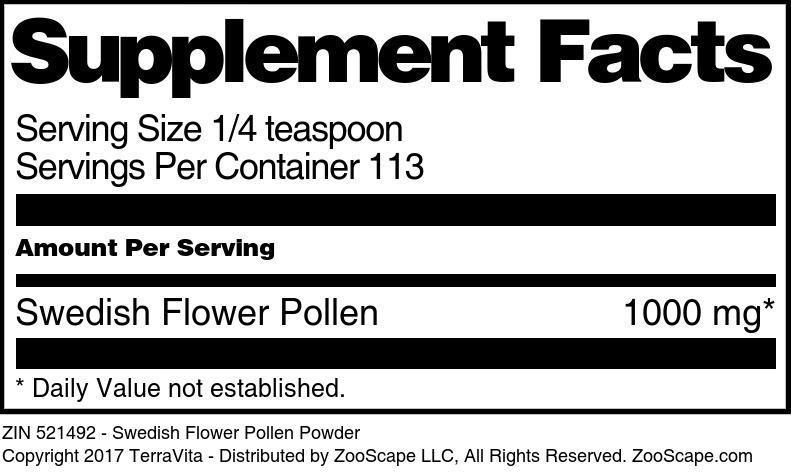 Swedish Flower Pollen Powder - Label