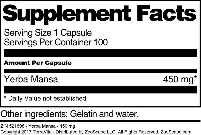 Yerba Mansa - 450 mg