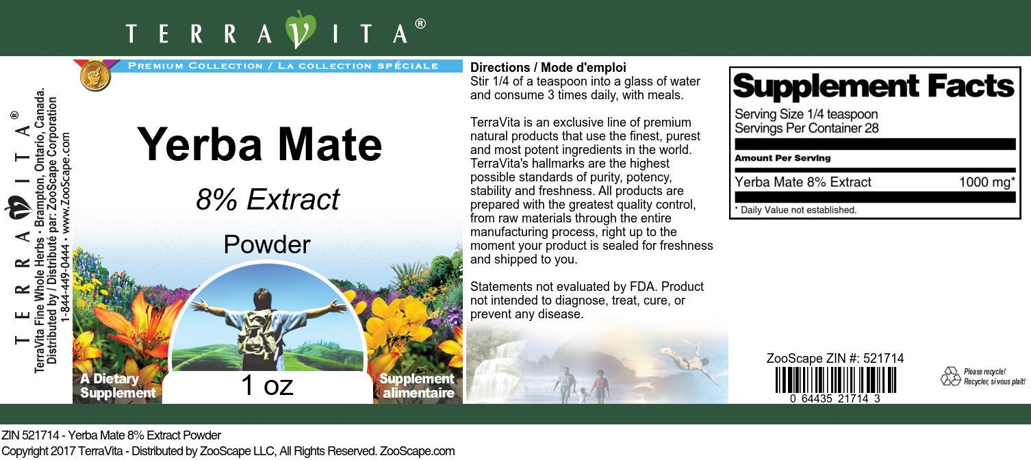 Yerba Mate 8% Powder