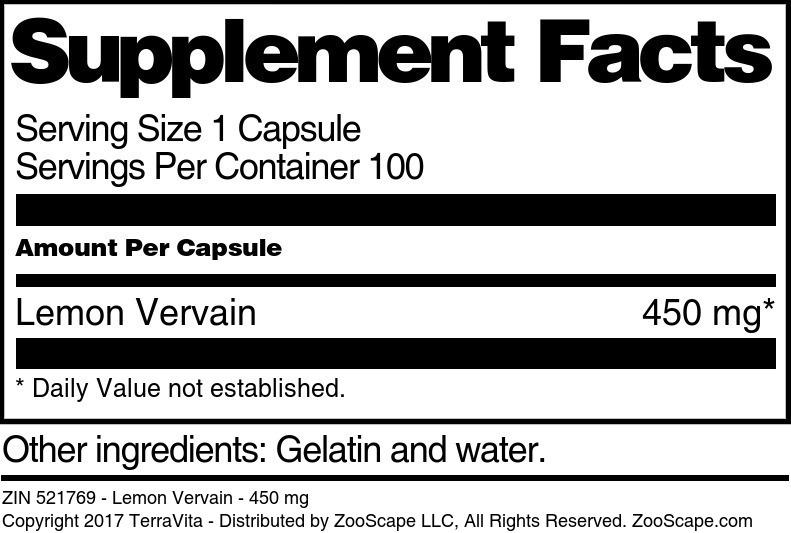 Lemon Vervain - 450 mg