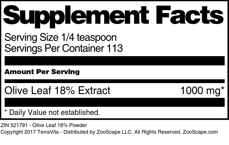 Olive Leaf 18% Extract