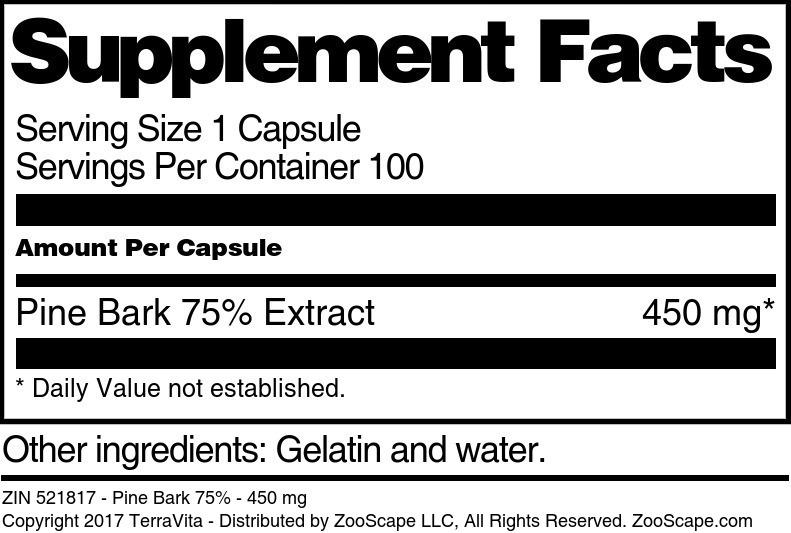 Pine Bark 75% - 450 mg