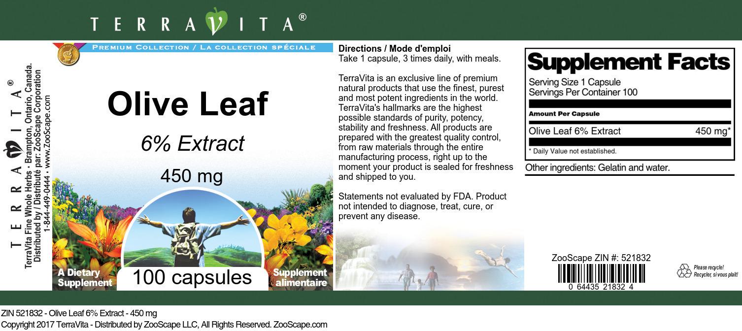 Olive Leaf 6% - 450 mg