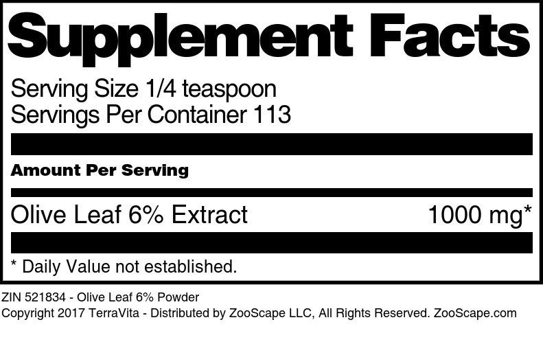 Olive Leaf 6% Powder
