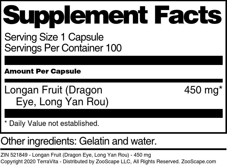 Longan Fruit (Dragon Eye, Long Yan Rou) - 450 mg