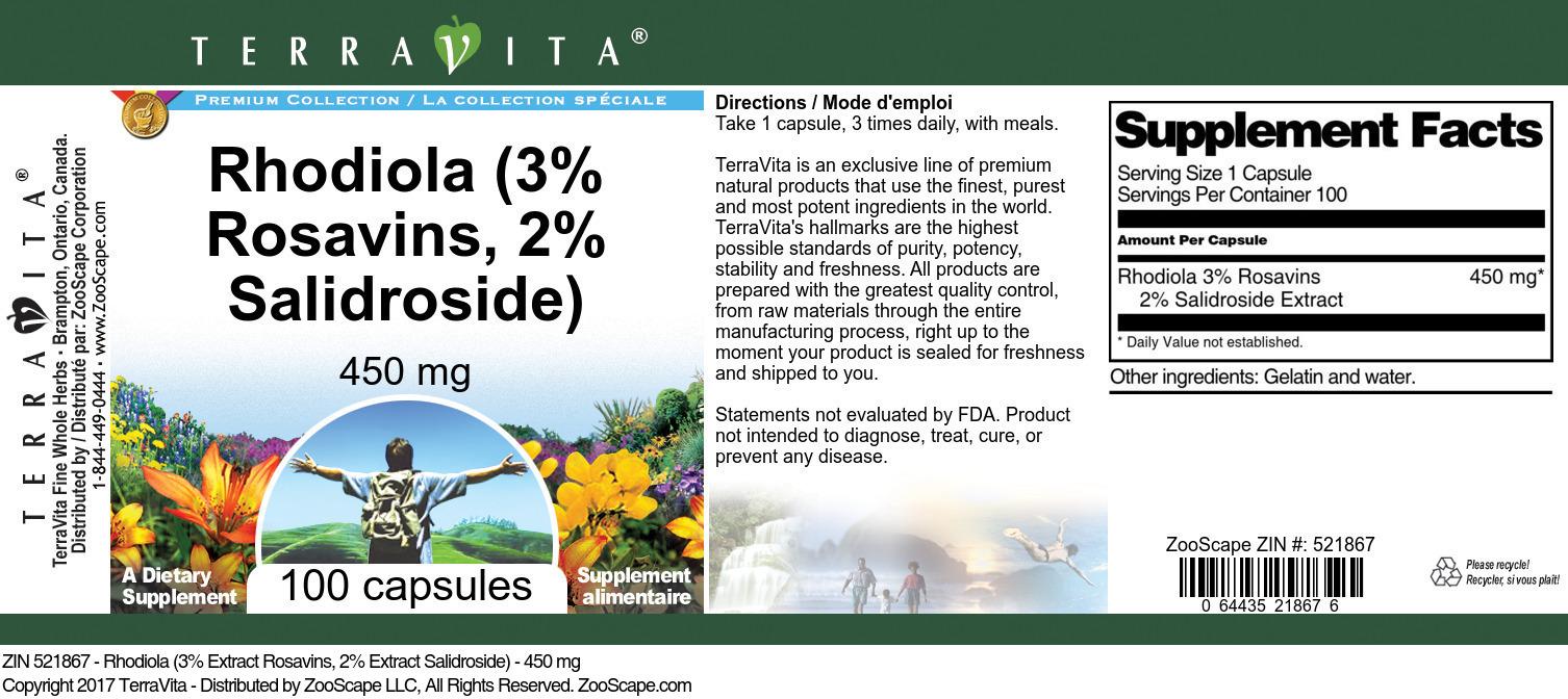 Rhodiola (3% Rosavins, 2% Salidroside) - 450 mg