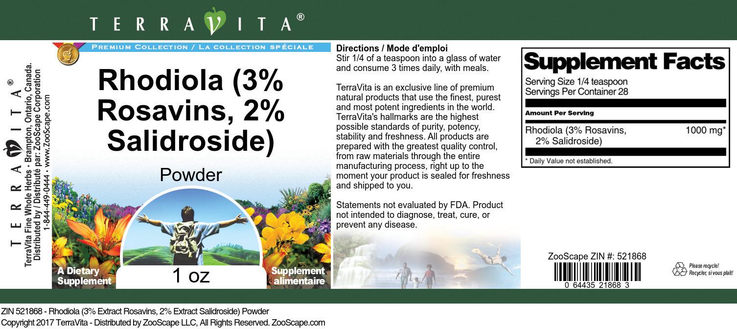 Rhodiola (3% Rosavins, 2% Salidroside) Powder