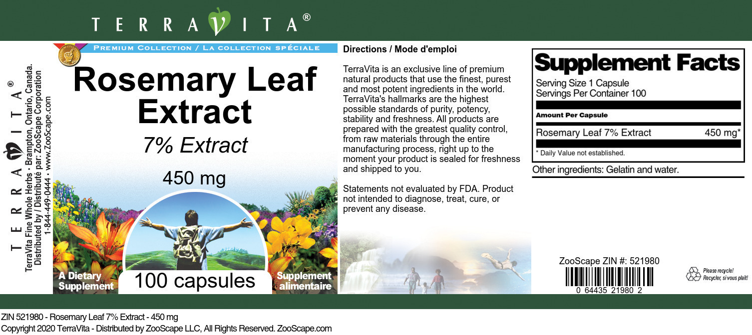 Rosemary Leaf 7% Extract - 450 mg
