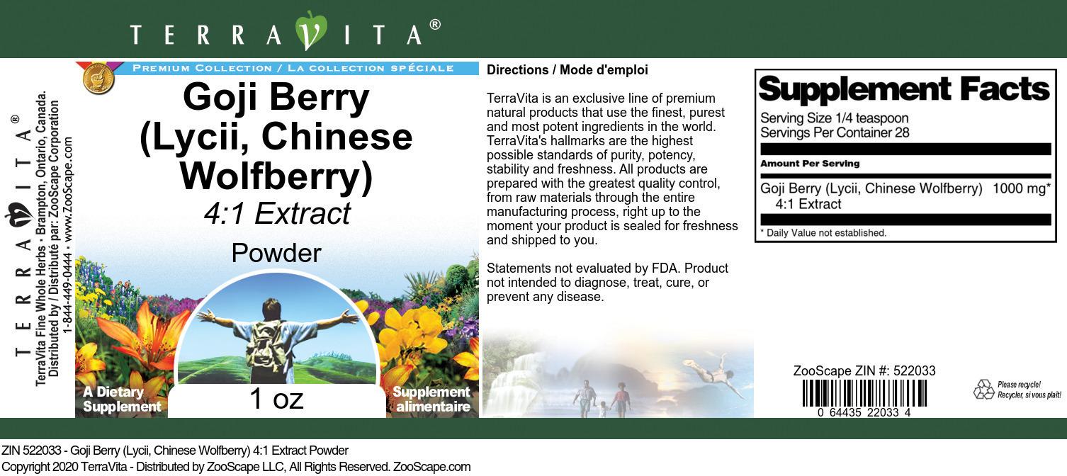 Goji Berry <BR>(Lycii, Chinese Wolfberry) 4:1 Extract