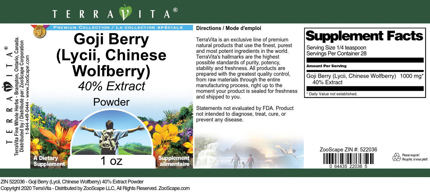 Goji Berry (Lycii, Chinese Wolfberry) 40% Extract Powder