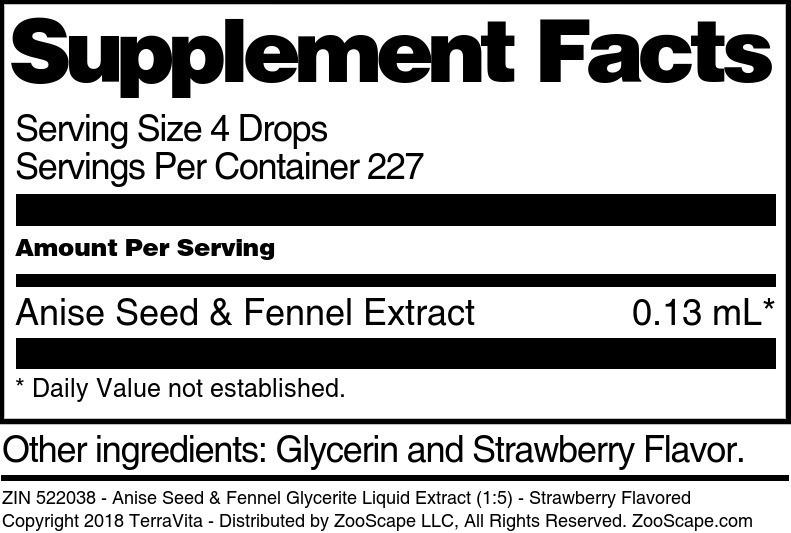 Anise Seed & Fennel Glycerite Liquid Extract (1:5)