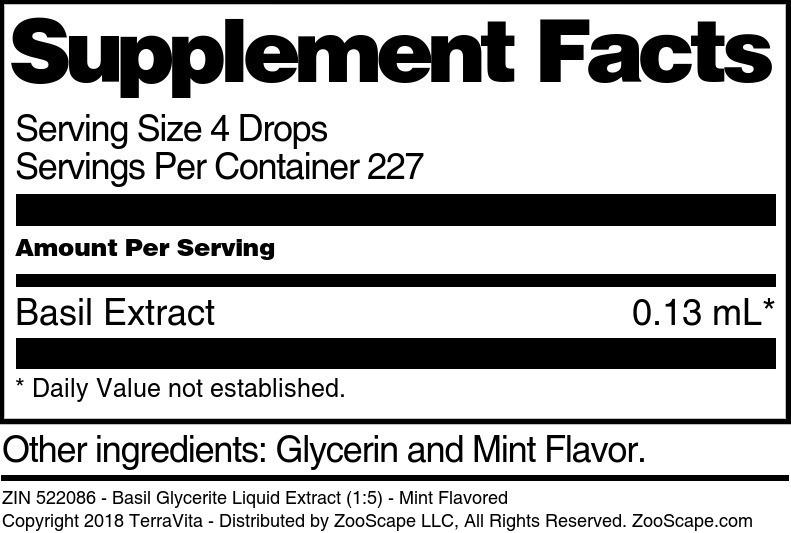 Basil Glycerite Liquid Extract (1:5)