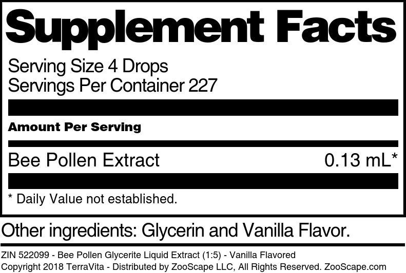Bee Pollen Glycerite Liquid Extract (1:5)