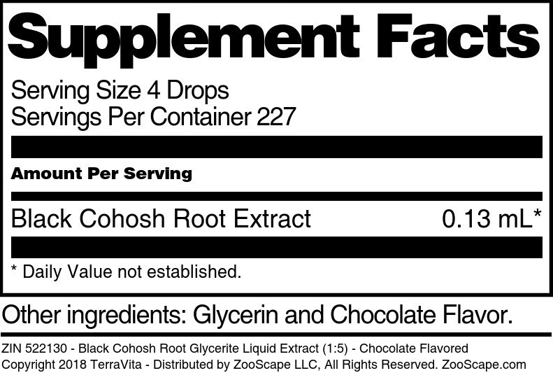 Black Cohosh Root Glycerite Liquid Extract (1:5)