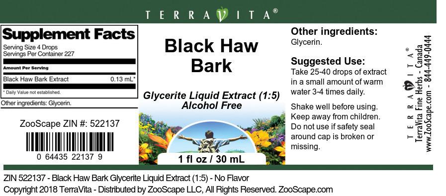 Black Haw Bark Glycerite Liquid Extract (1:5)