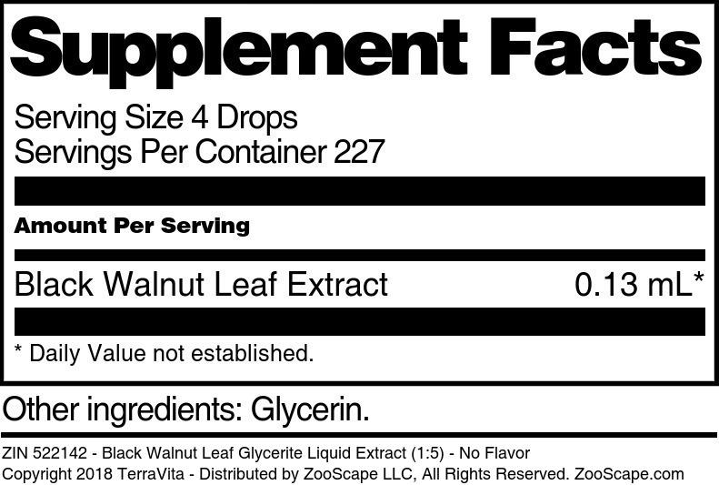 Black Walnut Leaf Glycerite Liquid Extract (1:5)
