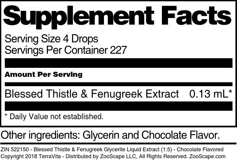 Blessed Thistle & Fenugreek Glycerite Liquid Extract (1:5)